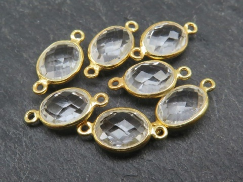 Gold Vermeil Crystal Quartz Oval Connector 14mm