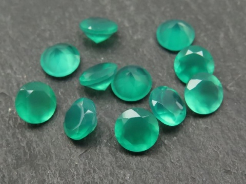 Green Onyx Faceted Round ~ Various Sizes
