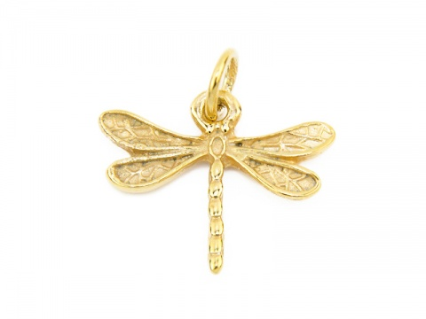 Gold Vermeil Dragonfly Pendant 16mm