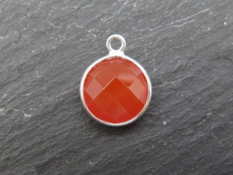 Sterling Silver Carnelian Round Pendant 14mm