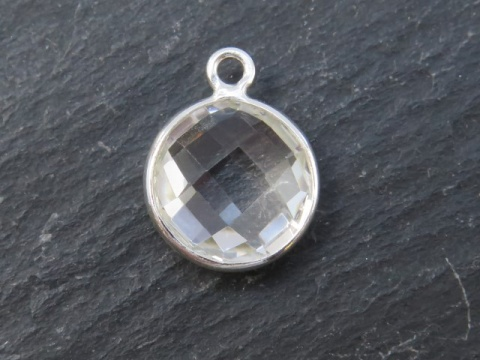 Sterling Silver Crystal Quartz Round Pendant 14mm