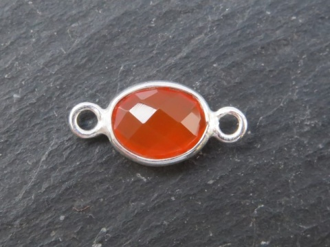 Sterling Silver Carnelian Oval Connector 14mm