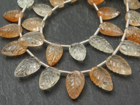 AA+ Oregon Sunstone Carved Leaf Briolettes 11mm ~ 9'' Strand