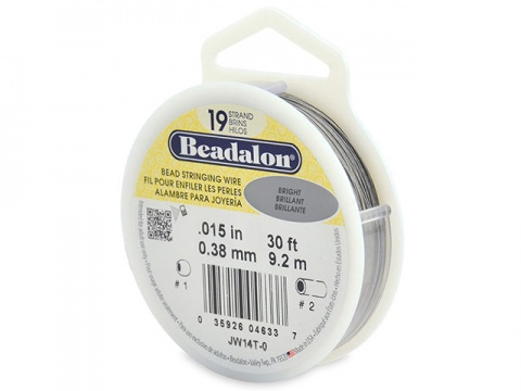 Beadalon 19 Strand Stringing Wire 0.015'' (0.38mm) - Bright - 30 ft