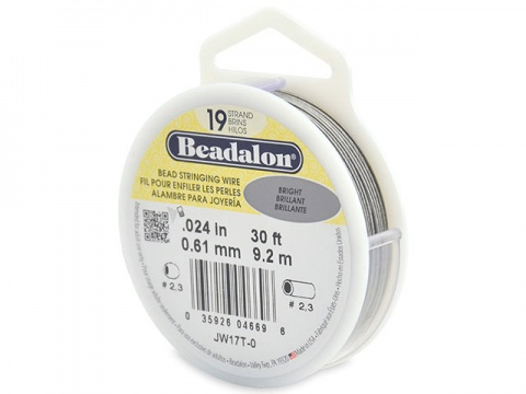 Beadalon 19 Strand Stringing Wire 0.024'' (0.61mm) - Bright - 30 ft