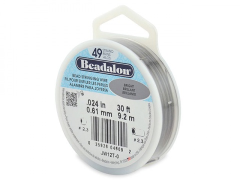Beadalon 49 Strand Stringing Wire 0.024'' (0.61mm) - Bright - 30 ft