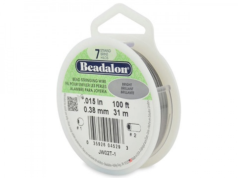 Beadalon 7 Strand Stringing Wire 0.015'' (0.38mm) - Bright - 100 Feet