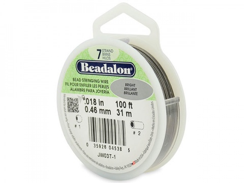 Beadalon 7 Strand Stringing Wire 0.018'' (0.46mm) - Bright ~ 100 Feet