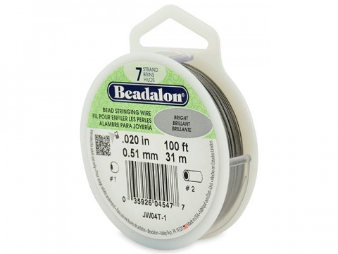 Beadalon 7 Strand Stringing Wire 0.020'' (0.51mm) - Bright - 100 Feet
