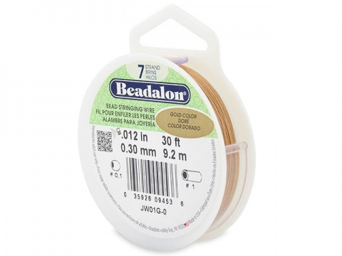 Beadalon 7 Strand Stringing Wire 0.012'' (0.30mm) - Gold - 30 Feet
