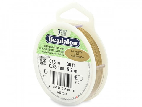 Beadalon 7 Strand Stringing Wire 0.015'' (0.38mm) - Gold - 30 Feet