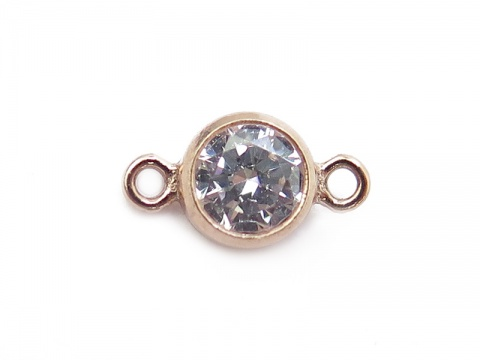Cubic Zirconia Rose Gold Filled Connector ~ Brilliant White ~ 8.75mm