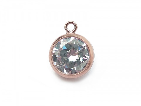 Cubic Zirconia Rose Gold Filled Charm ~ Brilliant White ~ 8.75mm