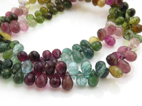 Multi-Tourmaline Faceted Teardrop Briolettes 6-7mm ~ 8.5'' Strand