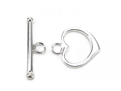 Sterling Silver Heart Toggle and Bar Clasp 15mm