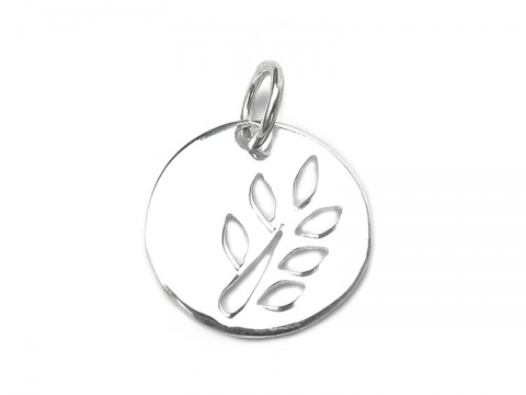 Sterling Silver Cut Out Leaf Disc Pendant 12mm