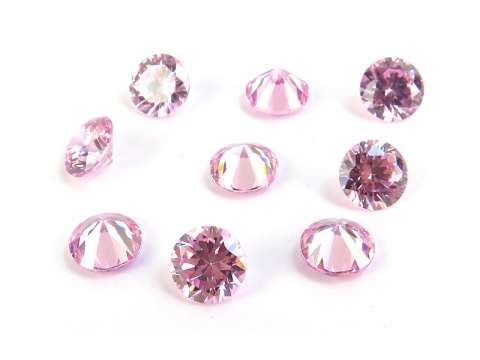 Cubic Zirconia Round ~ Rose Pink ~ Various Sizes