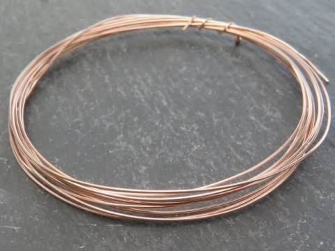 Rose Gold Vermeil Wire ~ 26 gauge (0.4mm) ~ Soft ~ Round ~ 5ft