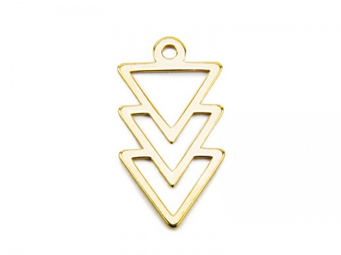 Gold Vermeil Triangles Pendant 16mm
