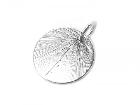 Sterling Silver Etched Circle Pendant 13mm