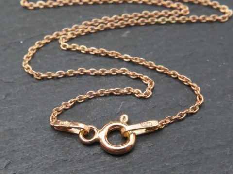 Rose Gold Vermeil Fine Cable Chain Necklace with Clasp 17.5''