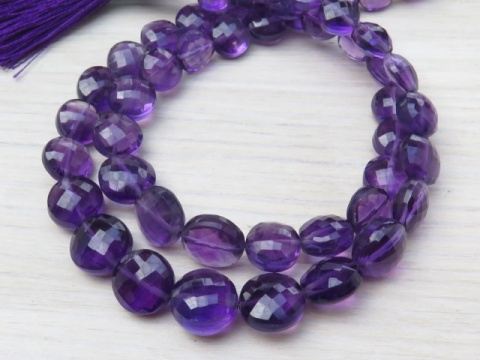 AA+ Amethyst Faceted Coin Beads ~ Various Sizes ~ 7.5-8.5mm