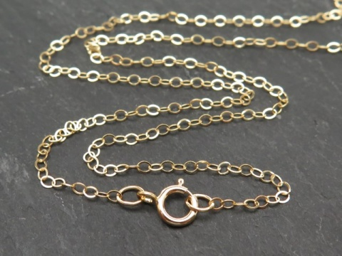 Gold Filled Flat Cable Chain Necklace with Spring Clasp ~ 18''