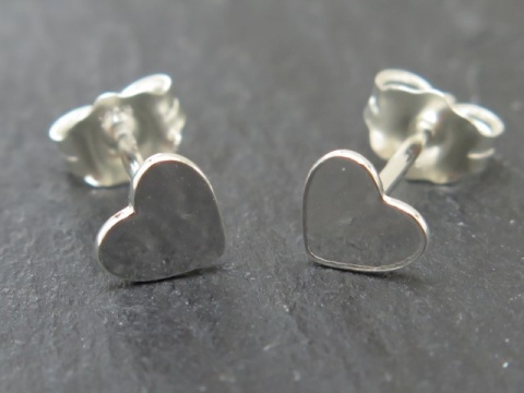 Sterling Silver Heart Ear Studs ~ PAIR