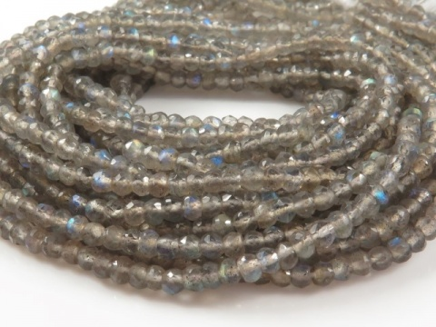 AA Labradorite Faceted Rondelle Beads 2.75-3mm ~ 13.5'' Strand