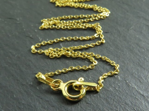 Gold Vermeil Fine Cable Chain Necklace with Clasp 17.5''