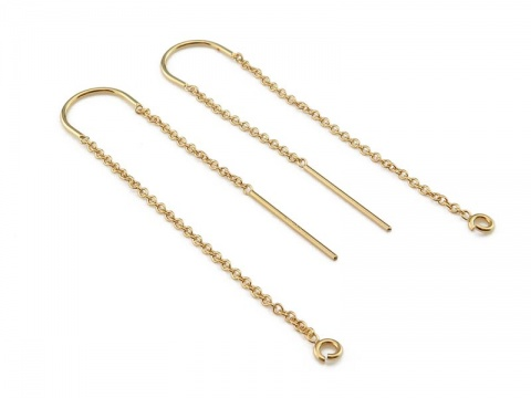 Gold Filled U Shape Ear Threader with Ring ~ PAIR