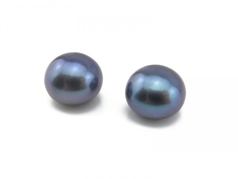 Freshwater Pearl Peacock Button ~ Various Sizes ~ Half Drilled ~ PAIR