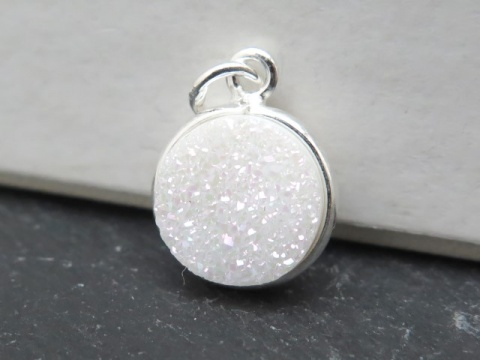 Sterling Silver White Druzy Round Pendant 14mm