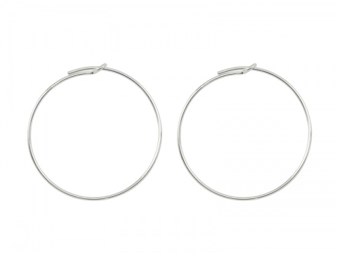 Sterling Silver Beading Hoop 30mm ~ PAIR