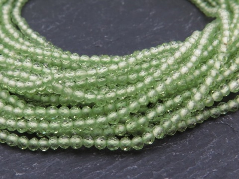 AAA Peridot Micro-Faceted Rondelles 2-2.5mm ~ 12.5'' Strand