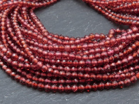 AAA Garnet Micro-Faceted Rondelles 3mm ~ 13'' Strand