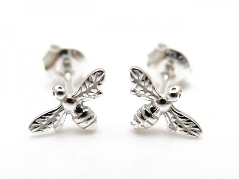 Sterling Silver Bee Ear Studs ~ PAIR
