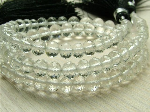AAA Crystal Quartz Micro-Faceted Rondelles 3.75-5.25mm ~ 8.5'' Strand