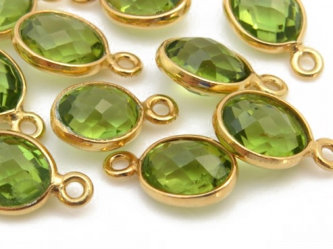 Gold Vermeil Peridot Oval Charm 11-12mm ~ SECONDS