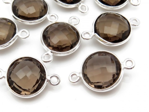 Sterling Silver Smoky Quartz Round Connector 17mm