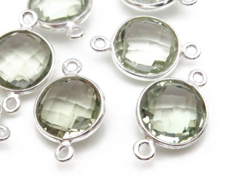 Sterling Silver Green Amethyst Round Connector 17mm