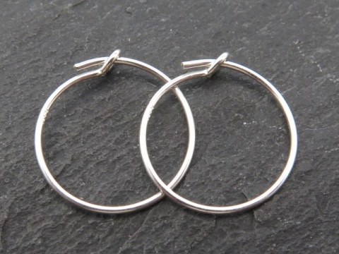 Sterling Silver Beading Hoop 15mm ~ PAIR