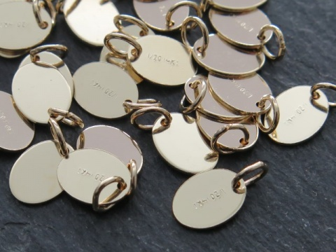 Gold Filled Stamped Oval Tag w/Open Ring 7mm