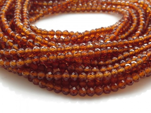 AAA Spessartine Garnet Micro-Faceted Rondelles 2.5mm ~ 12.5'' Strand