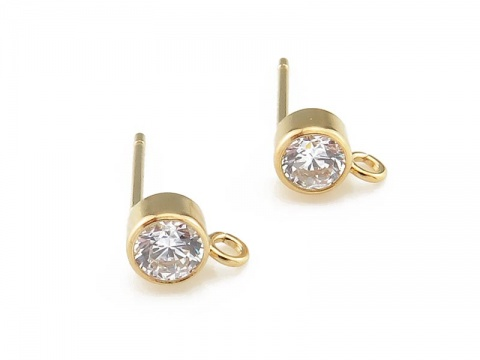 Gold Filled White Cubic Zirconia Ear Post ~ PAIR