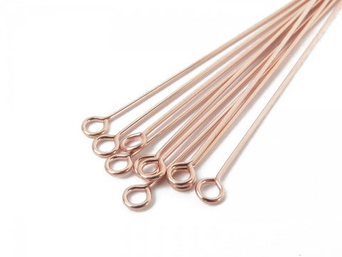 Rose Gold Filled Eye Pin ~ 24 gauge ~ 1'' ~ Pack of 10