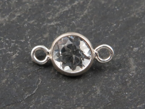 Sterling Silver White Topaz Connector 8.75mm