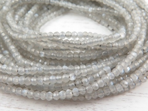 AAA Grey Moonstone Micro-Faceted Rondelles 2mm ~ 12.5'' Strand
