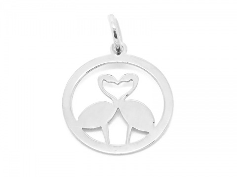 Sterling Silver Flamingo Love Pendant 13mm