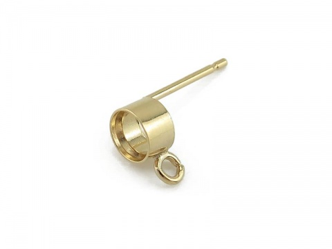 Gold Filled Tube Bezel Setting with Ring Ear Post 4mm